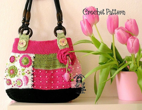 Crochet Stitches On Pinterest : Cuando vi este bolso en Pinterest me encaprichE totalmente de El.