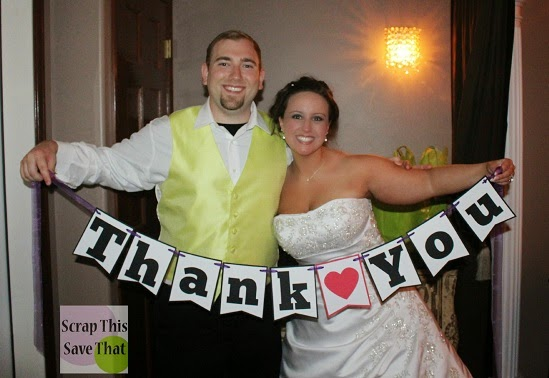 Banner, scrapbooking, thank you, wedding