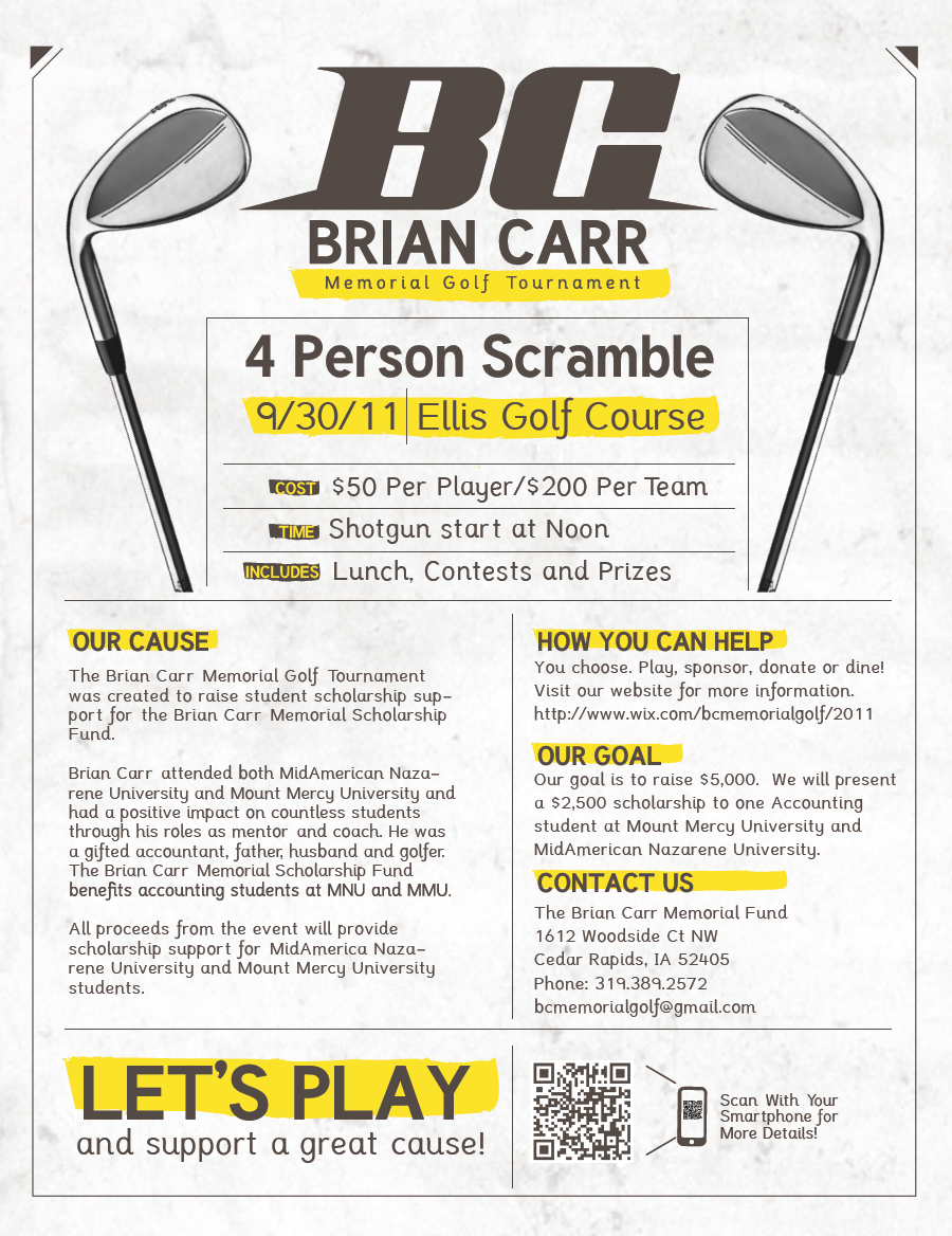 carrdiac design  brian carr memorial golf tournament ad