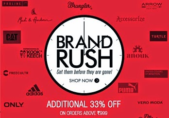 Flat 33% Additional Off on Top 90 Fashion Brands (Discount Valid on Cart Value of Only Rs.999 & above) Hurry!! Limited Period Offer