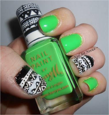 Tribal Nail Art with Barry M Nail Art Pens and Barry M Superdrug Limited Edition Neon Green