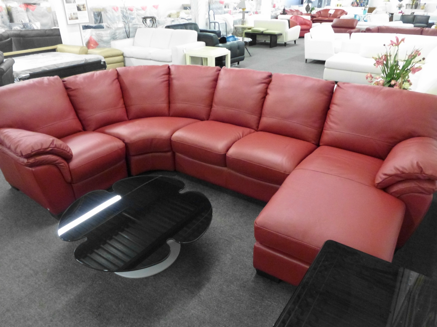 Italsofa Red Leather Sectional I130 Sale $2799.00