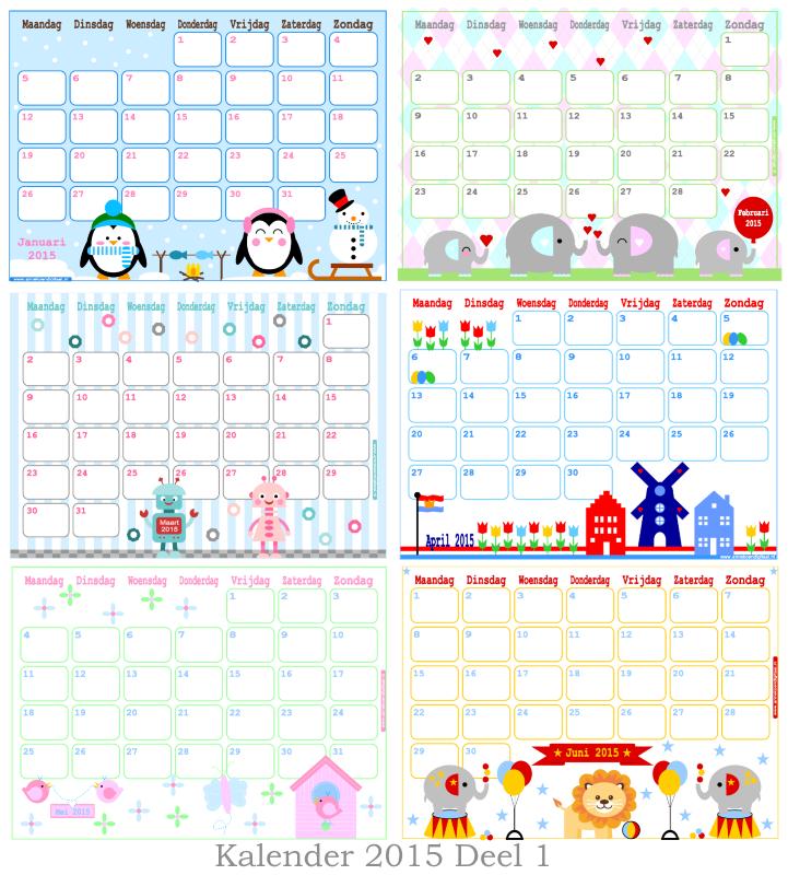 Kalender 2015 Annekoendigitaal, kalender voor kinderen, kalender om uit printen, maandkalenders, kalenders 2015, januari 2015