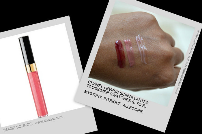 Eclats du Soire de Chanel Holiday 2012 Makeup Collection Levres Scintillantes Glossimer Mystery Intrigue Allegorie Indian Beauty Blog Darker Skin Swatch
