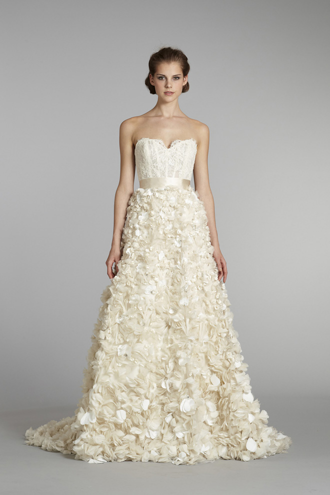 Lazaro bridal fall 2012 my dress of the week belle the for Floral dresses for weddings