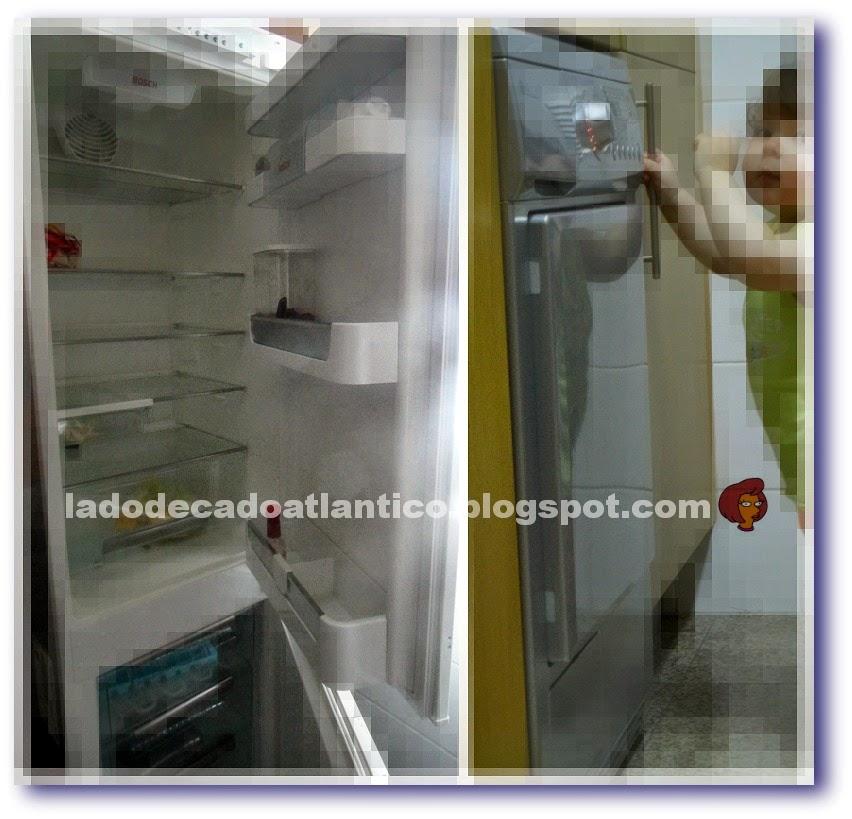 Imagens de um refrigerador e máquina de secar roupas de embutir (encastráveis)