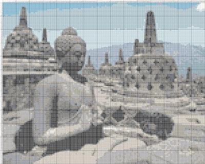 Gambar Kristik Patung Buddha Di Candi Borobudur