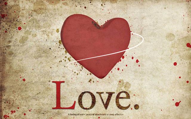 Love achtergrond met een groot rood liefdes hart