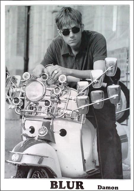 damon albarn motorbike, blur bike, albarn cool, albarn poster, albarn 45