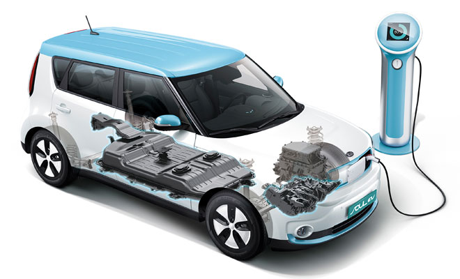 Kia Soul EV cutaway