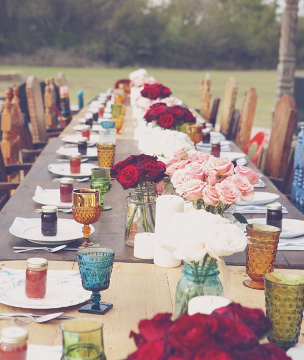 Beautiful bridal 7 easy bohemian wedding ideas 1 mismatched drinking glasses and goblets are festive and fun tables pushed together to form one long dining area create a warm welcoming intimate vibe junglespirit Choice Image