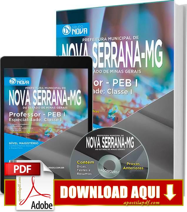 Apostila Prefeitura de Nova Serrana MG 2015 Professor PEB I PDF Download