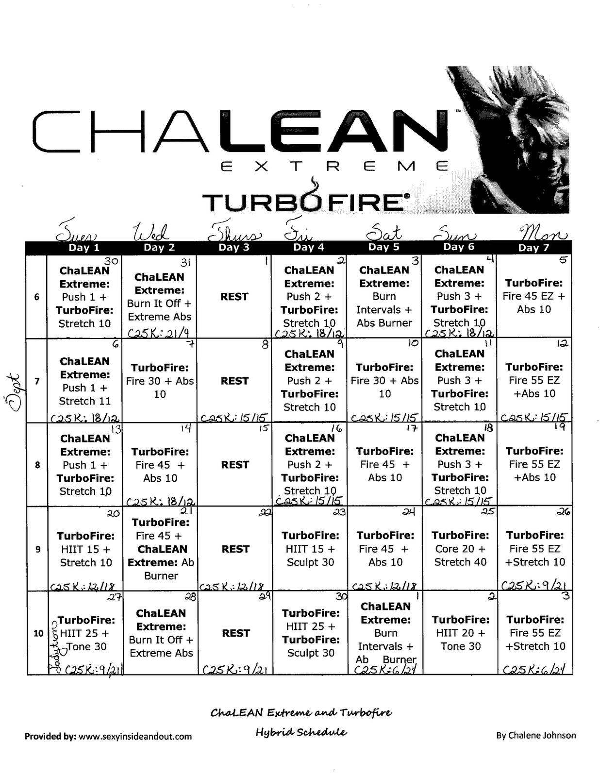 "bride on the run!: ""turbolean"" schedule"