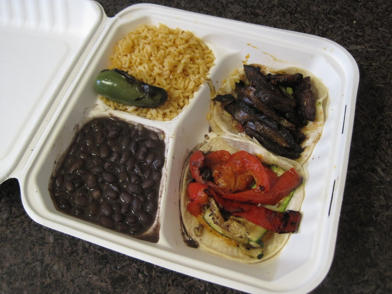 Spicy Portabella Mushroom & Grilled Zucchini & Red Peppers Taco Plate...