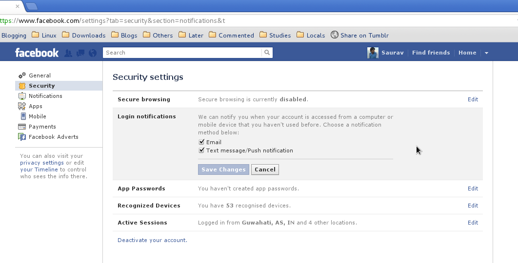 Secure your facebook account by activating login notifications