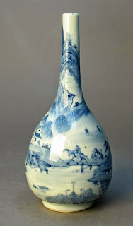 Blue and white 18th C. Bottle vase