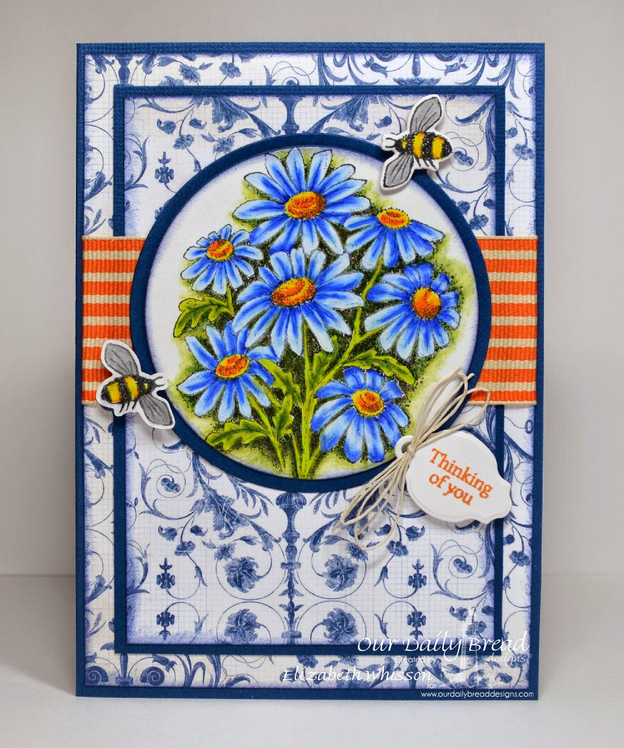 Elizabeth Whisson, Prismacolor pencils, handmade card, Thinking of You, bees, daisy, daisies, contrast, Mini Tag Sentiments, ODBD, Zinnia, Matting Circles, Circle Ornament dies