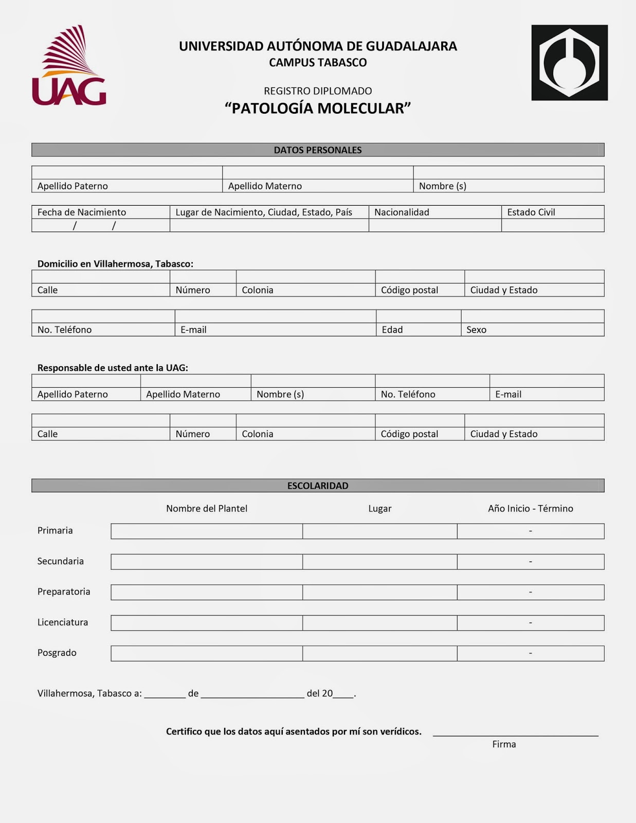 Químico Farmacéutico Biólogo UAG Tabasco: HOJA DE REGISTRO ...