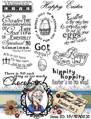 Word Art sheet of sentiment for Easter
