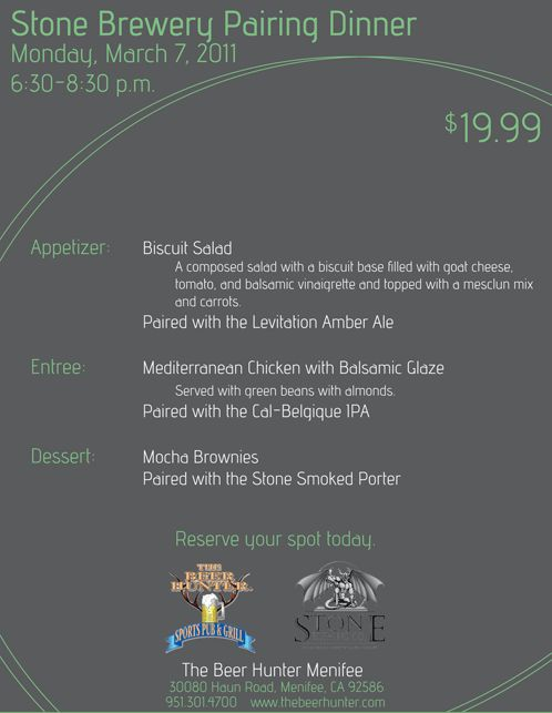 stone brewing beer pairing dinner