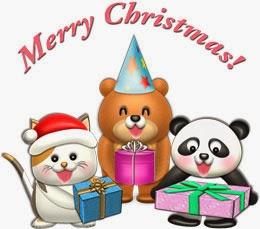 クリスマスのイラスト無料・動物たちのクリスマスプレゼント