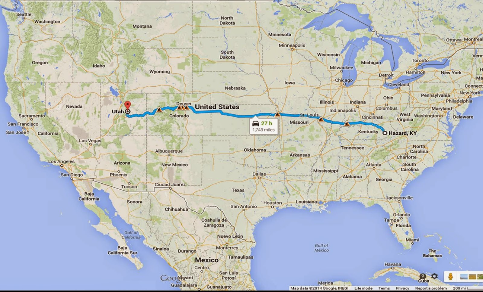 Google maps - Kentucky to Utah