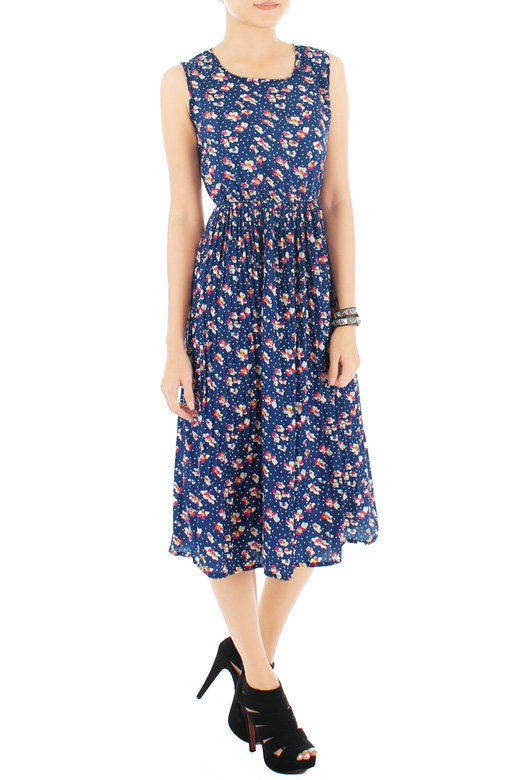 Billlowy Bloom Pleated Floral Dress