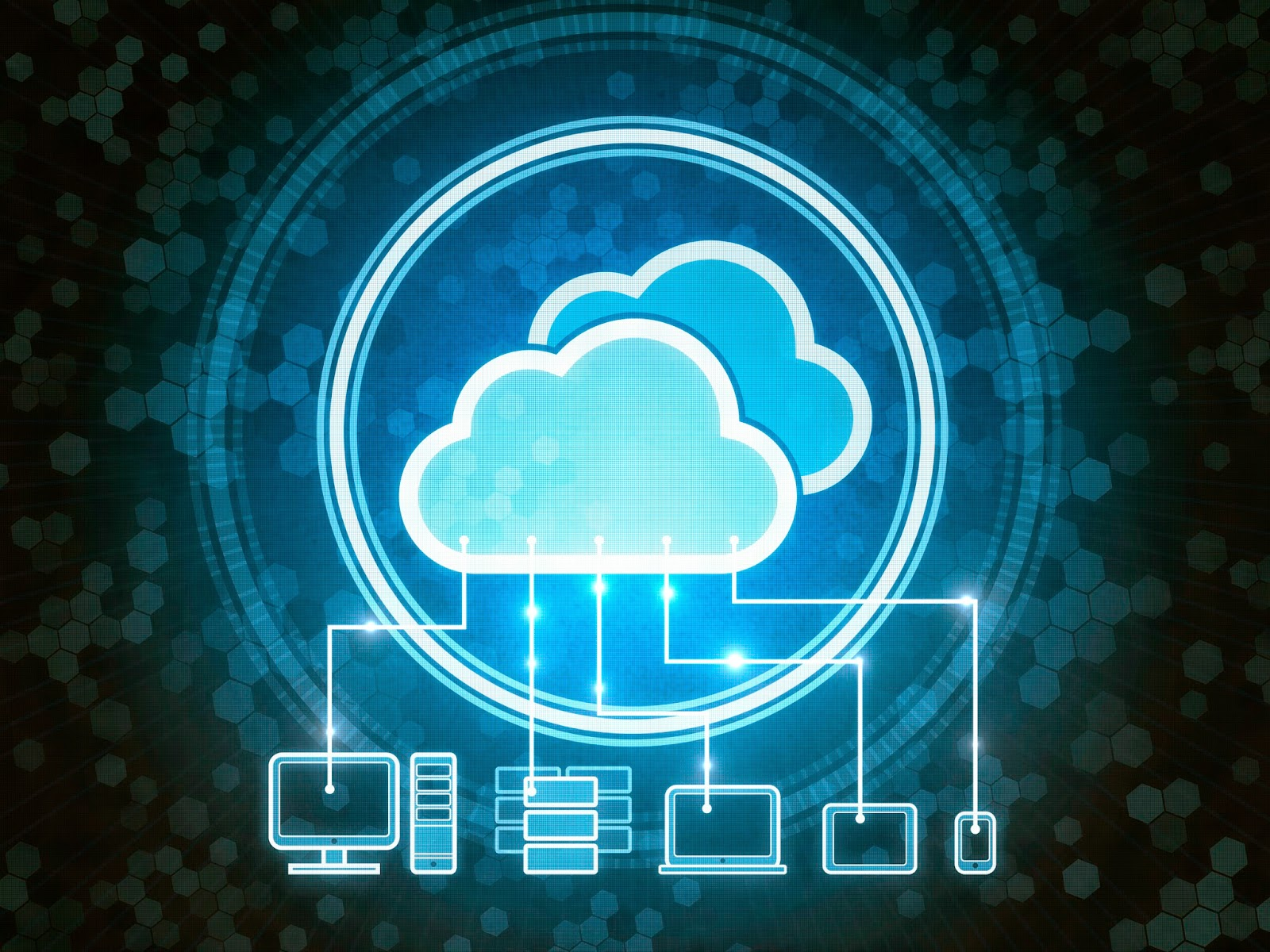 VDI concept: various devices linked to cloud