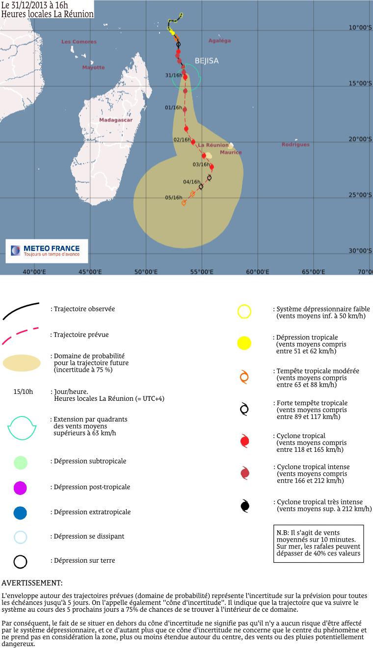 Trajectoire cyclone Béjisa 31/12/13