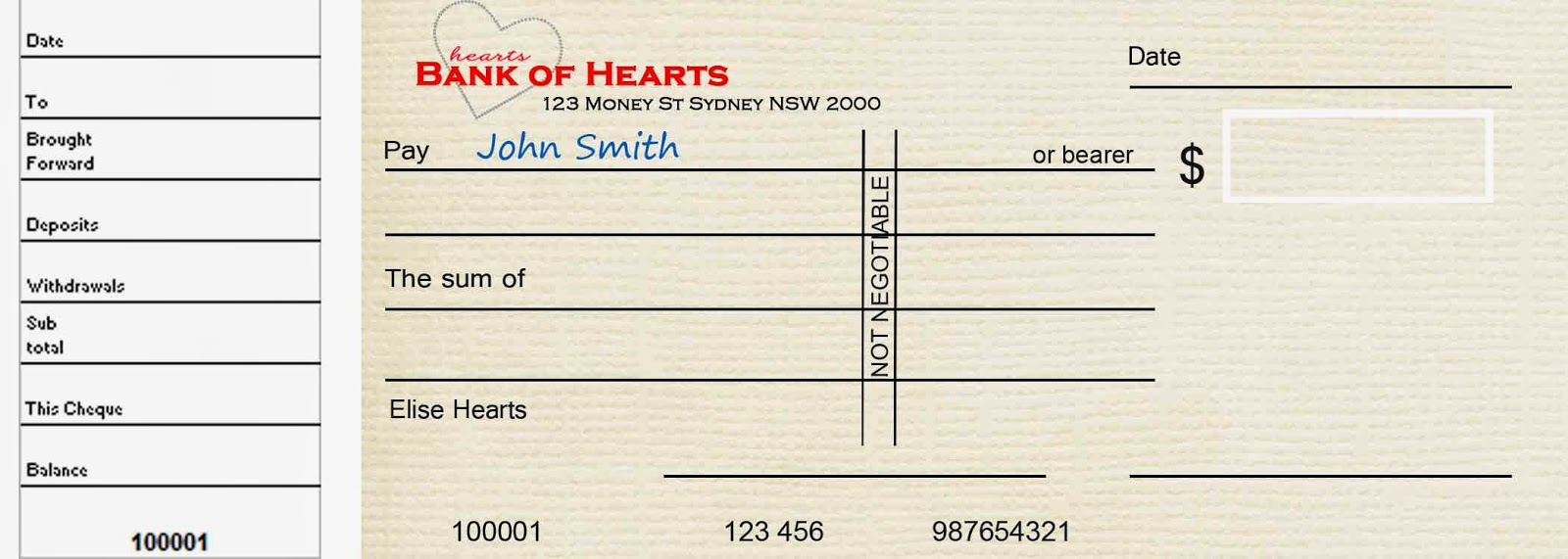 mummy hearts money the art of writing a cheque