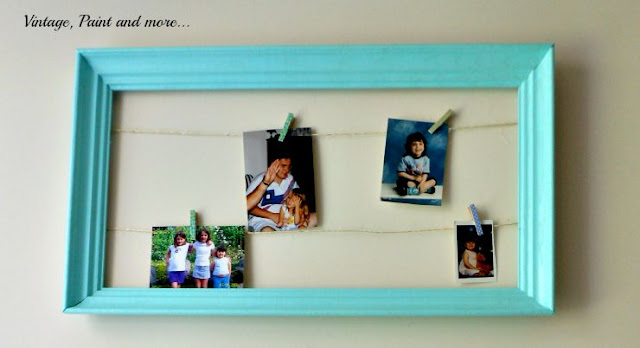 Vintage, Paint and more... DIY photo display from a thrifted frame and twine