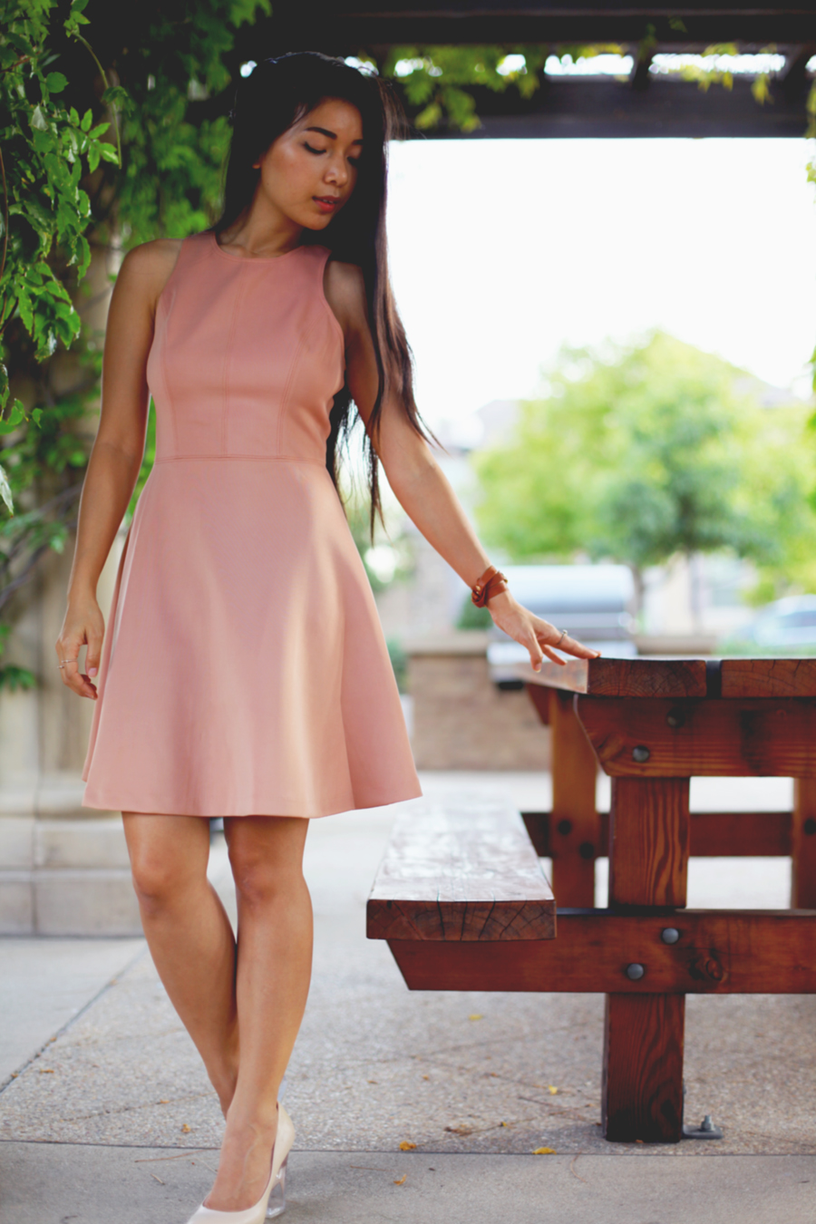 Stephanie Liu of Honey & Silk wearing LAST NIGHT Ambrosia Dress, Nasty Gal's Shoe Cult Minx Pumps, and La Mer wrap watch