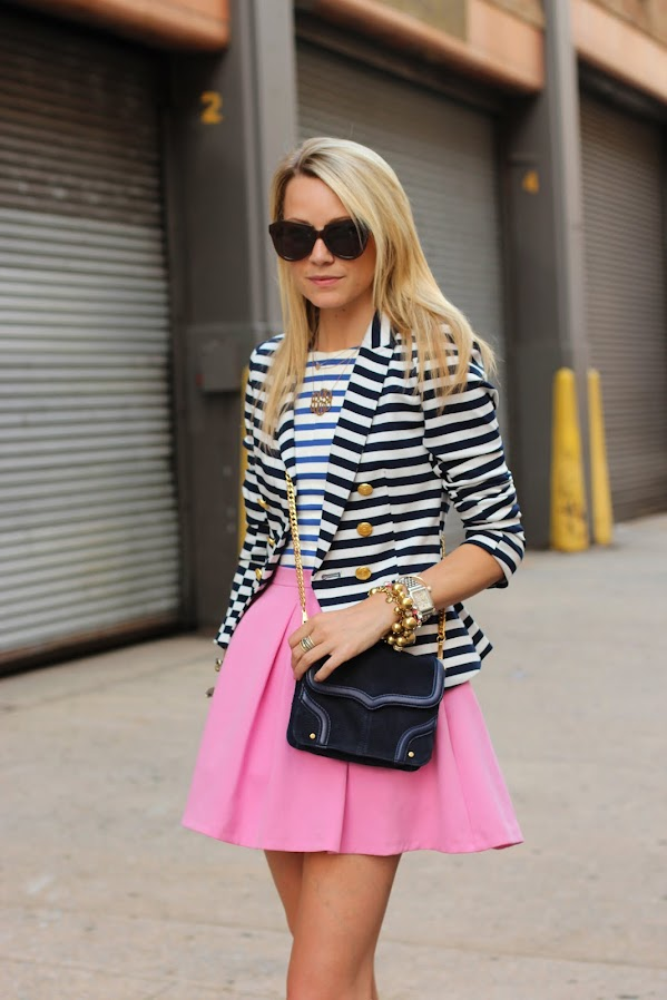 atlantic pacific stripes print mixing skirt topshop nude shoes