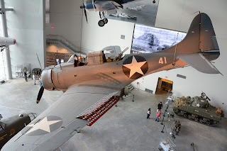 View of the Douglas SBD dive bomber at World War II Museum in New Orleans