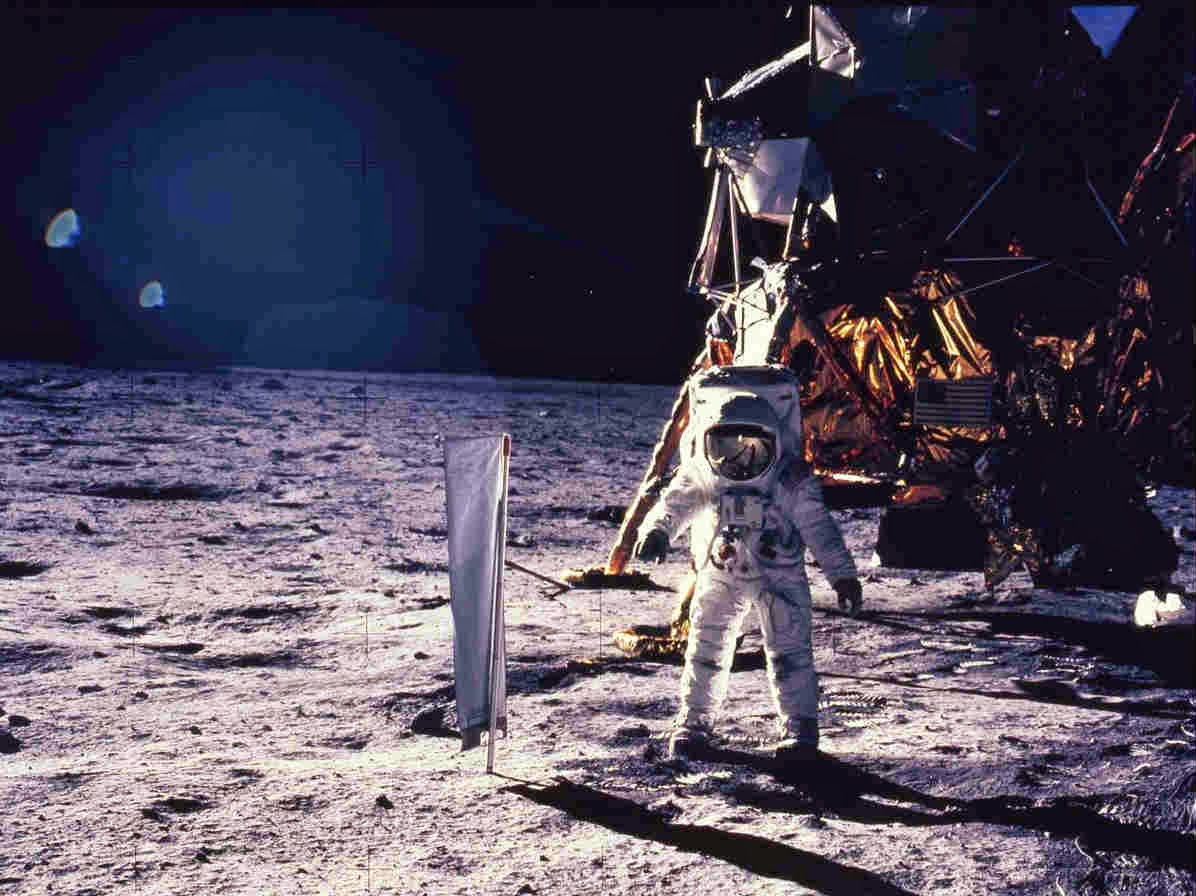 Astronaut Edwin Aldrin walks on the surface of the moon July 20, 1969