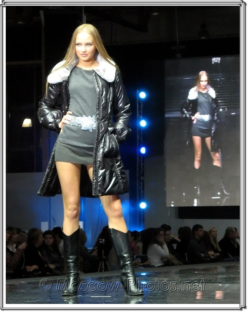Cool russian model in mini dress at Moscow Fashion Expo - 2007