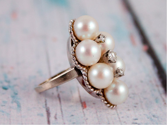 Vintage pearl and diamond ring #ring #engagement #wedding