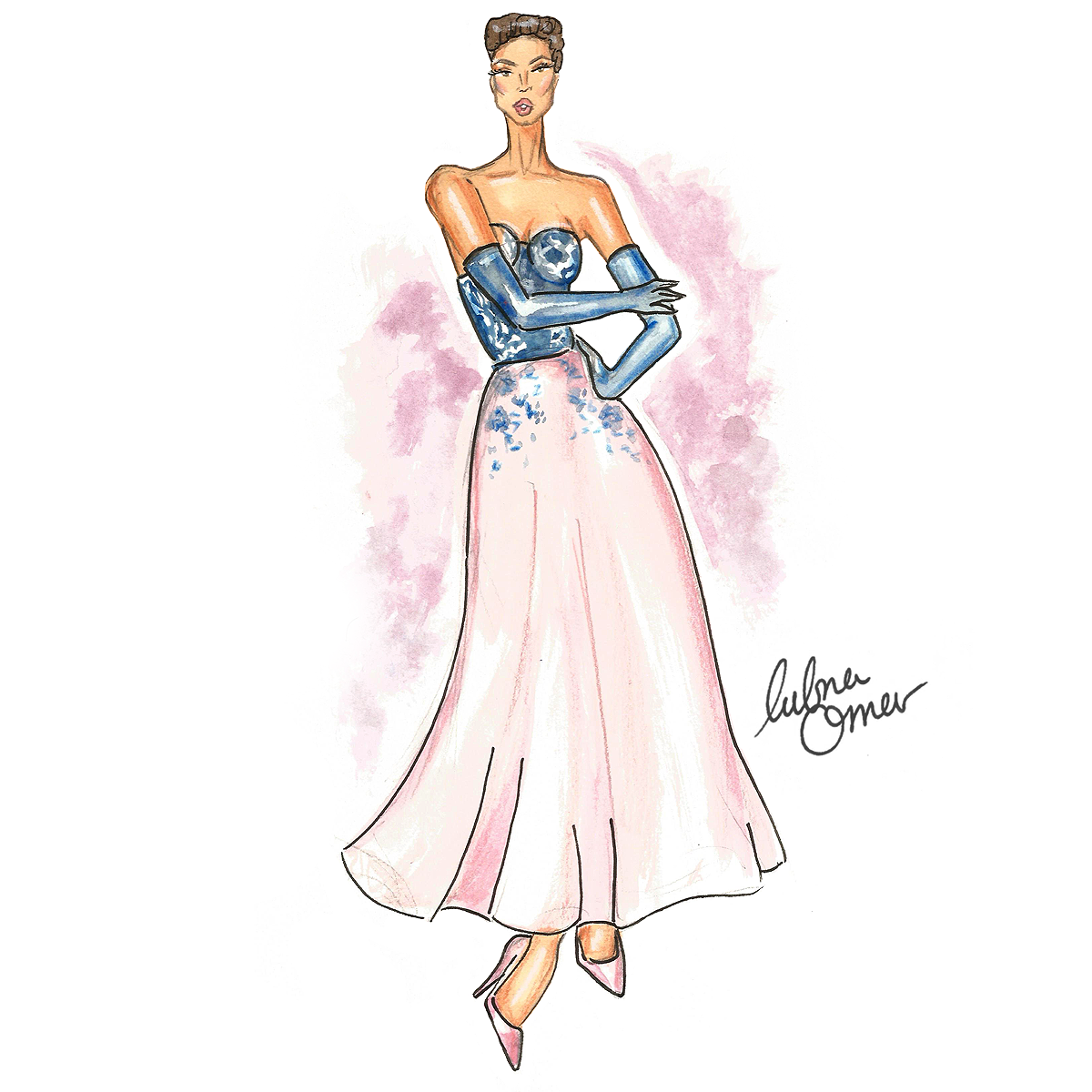 ralph and russo 2016 spring couture illustration by lubna omar