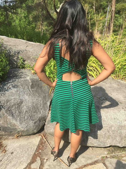 Striped dress, green stripes dress, Happiness Boutique review, Ananya Tales, Ananya KIran