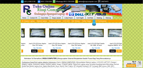 Rizqicomputer.com Toko Sparepart Laptop Terpercaya