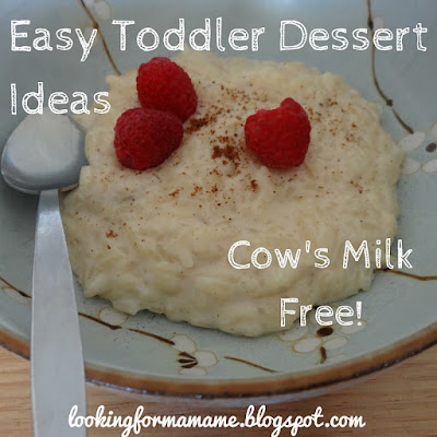 Easy Toddler Dessert Ideas - Cow's Milk Free - Banana Raspberry Rice Pudding