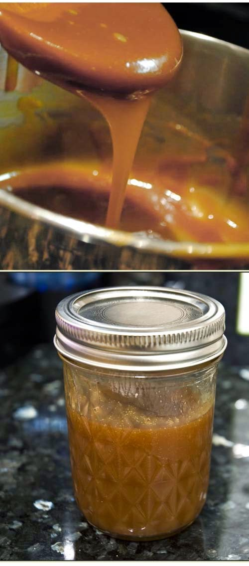 Homemade Salted Caramel Sauce Recipe. A perfect gift idea that you can make on your own using only sugar, butter, sea salt and heavy cream.