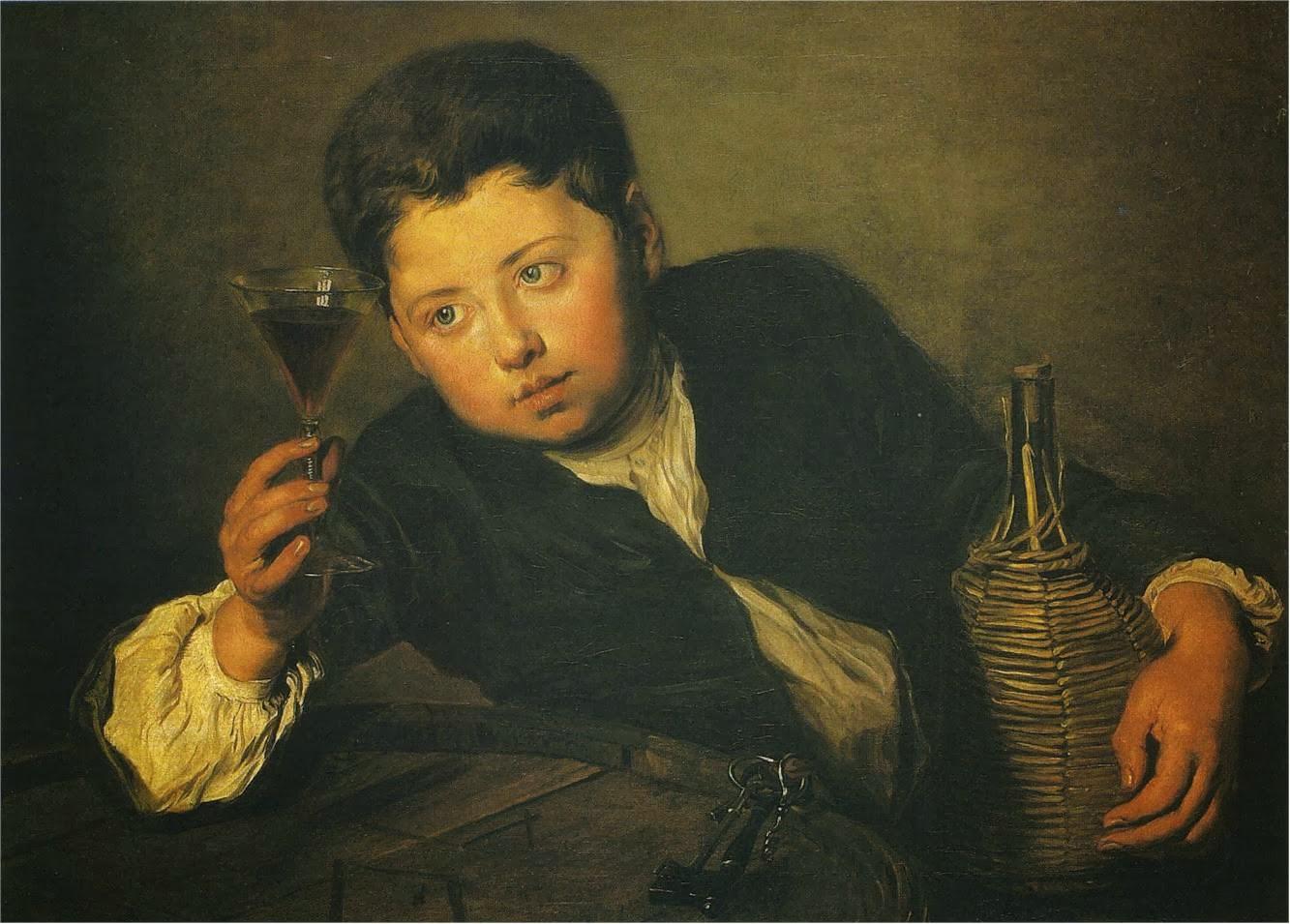 Philippe Mercier Femme au Verre de Vin フィリップ・メルシエ ワイングラスを持つ女