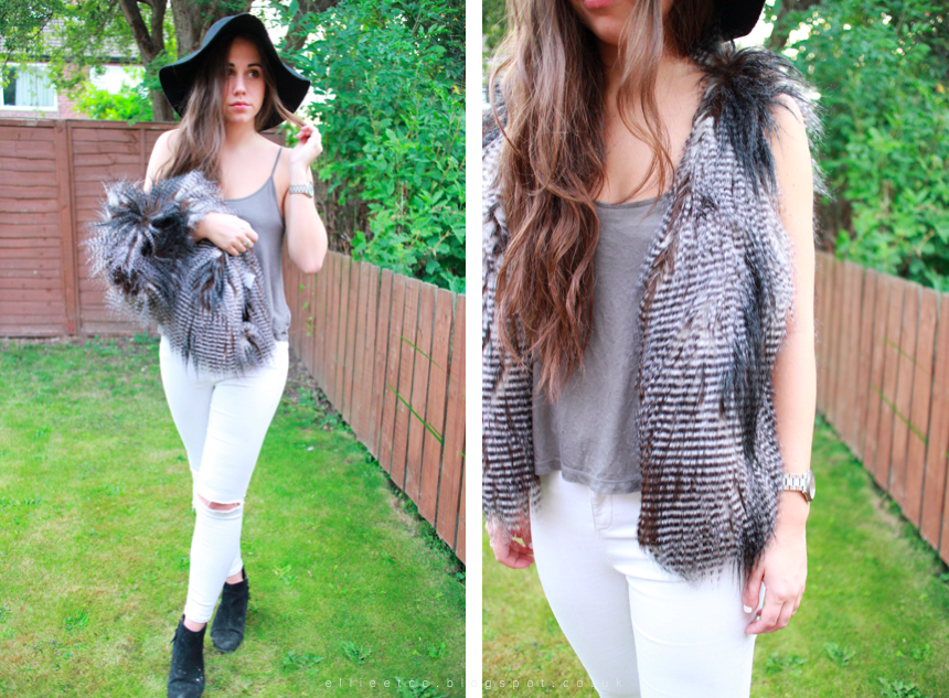 70's, fashion, OOTD, outfit, Primark, style, topshop, ways to wear, white jeans, Zara, wide brim hat, fur, fur gilet, backless, ripped jeans, ripped knee,