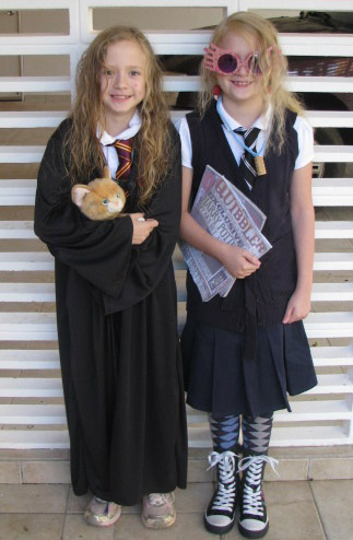 In their first ever  couples  Halloween costume the girls went as Hermione Granger and Luna Lovegood from Harry Potter. Mitch even made Fimo radish ...  sc 1 st  Pulling Stakes & Pulling Stakes: Halloween