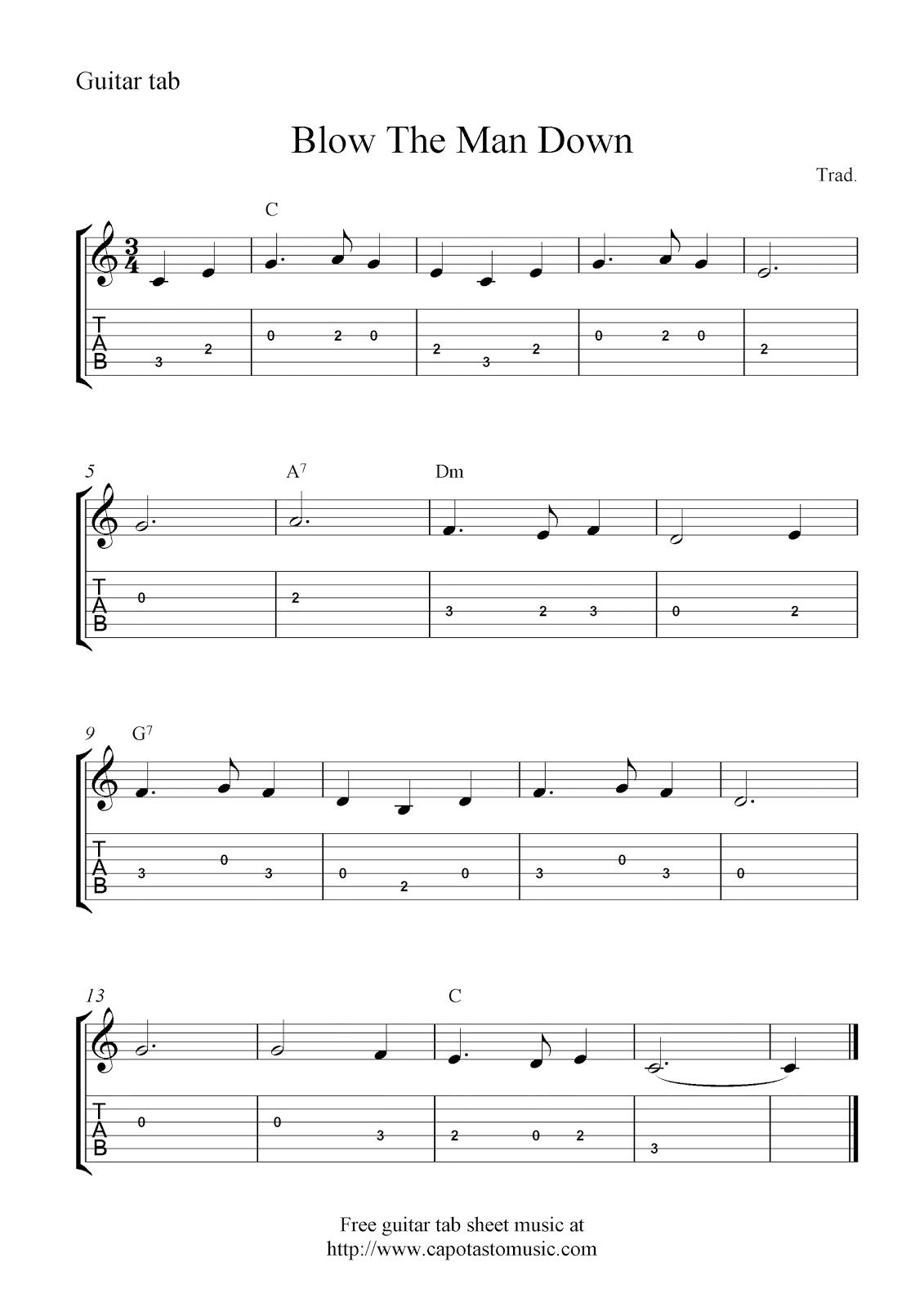 Free guitar tab sheet music, Blow The Man Down