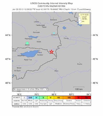 Epicentro sismo 6,0 grados Kazakhastan, 28 de Enero 2013
