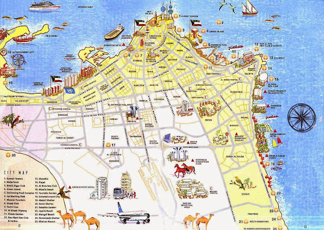 Kuwait City tourist map with landmarks