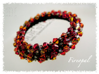 Fireopal Swarovski Crochet Bangle