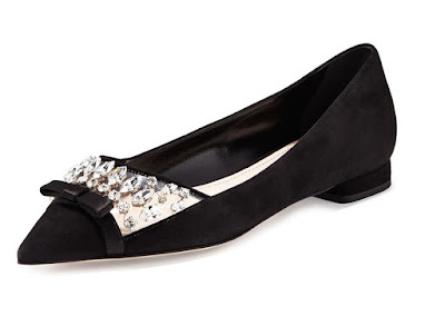 Miu Miu black pointy flats with bow and embellishments